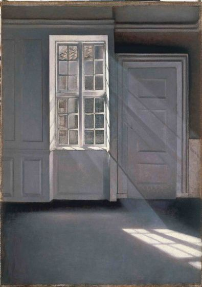 Hammershoi, Vilhelm: Dust Motes Dancing in the Sunbeams. Fine Art Print/Poster. Sizes: A4/A3/A2/A1 (00490)
